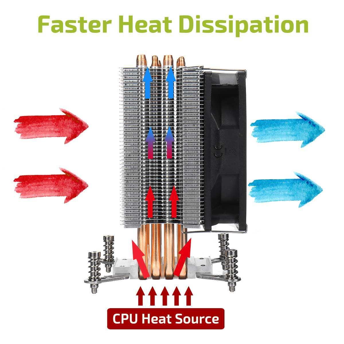 CPU Cooler Cooling 4 Copper Heatpipe Fan Radiator 90mm 3Pin CPU Cooler Fan Cooling Heatsink for Intel LGA 2011 X79 X99 299