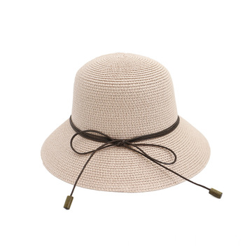 Women pink summer straw hat bucket hat