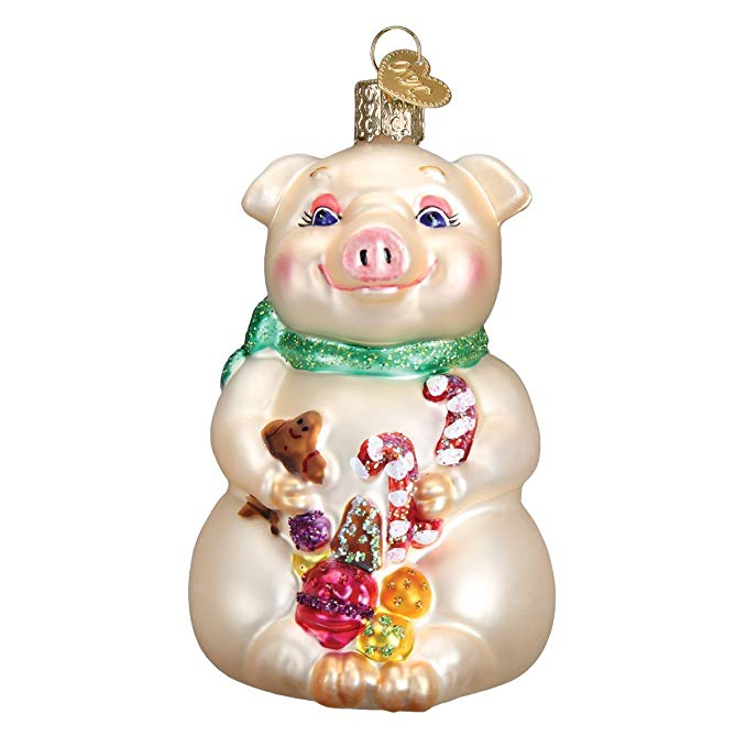 Pig Christmas Glass Ornament