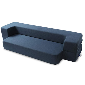 Folding Bed Couch Dark Blue Twin