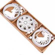 3PCS/lot Creative White Deer/Snowflake Wooden Pendants Christmas Tree Ornaments Decorations Xmas Wood Crafts Home Party Supplies