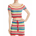 Rainbow Stripes Crop Top And Skirt Set Womens