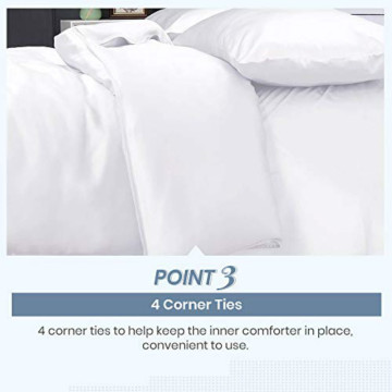 Duvet Cover with Zipper Closure Corner Ties Twin