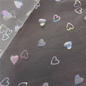 100% Polyester Iridescent Foil Hearts Printed Mesh Tulle