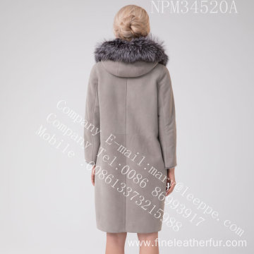 Hooded Spain Merino Shearling Coat For Women
