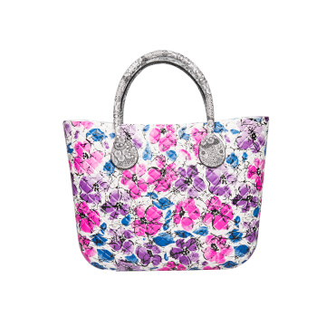 Italy fashion flower printing EVA foam beach handbag