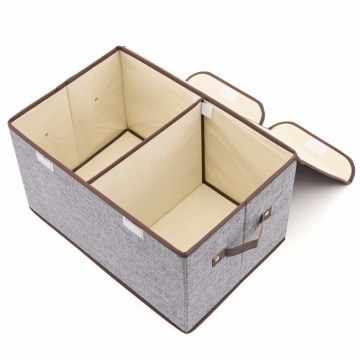 Linen Fabric Foldable Storage Cubes Bin Box Containers with Lid and Handles