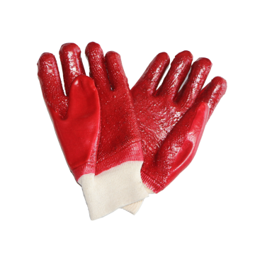 Red PVC Coated Gloves With Terry Liner