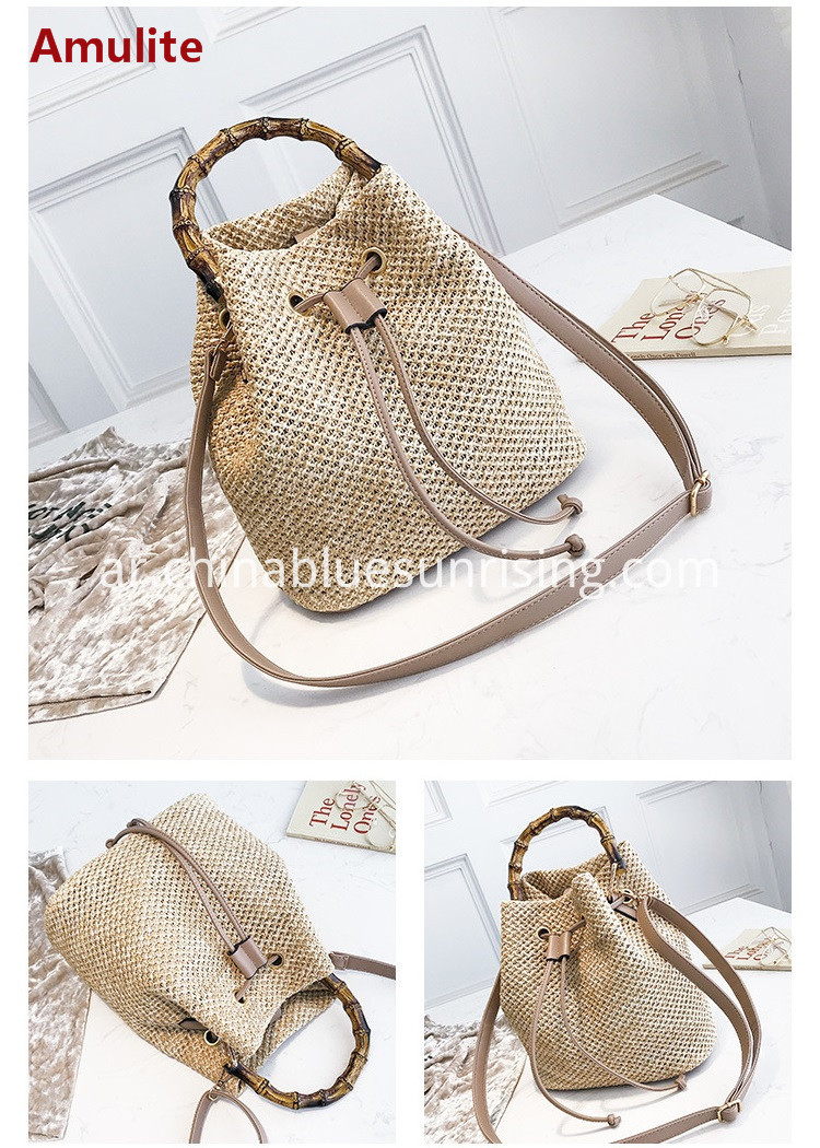 bamboo handle bucket straw bag