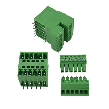 Double rows right angle pin plug-in terminal block