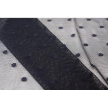 Nylon Metallic Spandex Black Dots Mesh Fabric