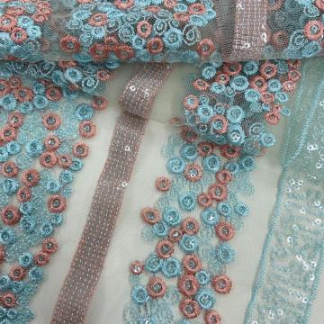 Strip Line / Circle Pattern Sequins Embroidery Fabric