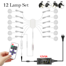 Remote Control Dimming Control LED Under Cabinet Lamp DC12V Puck Round 21LEDs Wardrobe Lighting Cabinet Lamp Cupboard Lights