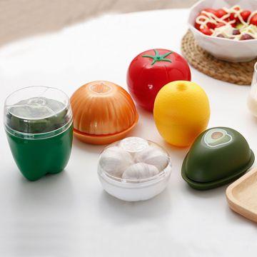1pc Plastic Onion Green Pepper Garlic Shaped Food Containers Crisper Lemon Fruits Case Fresh Box Refrigerator Home Storage