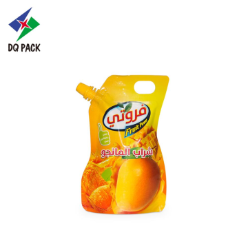 DQ PACK stand up shape pouch with spout for fruit juice die cut handle bag