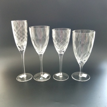 mouth blown goblet glass for martini wine glass