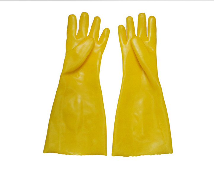 Yellow anti-chemical  Sandy Finish gloves 45cm