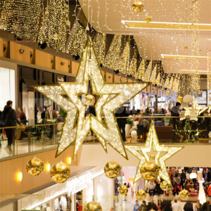 Ornamen Natal Tahan Air Motif Bintang LED 3D
