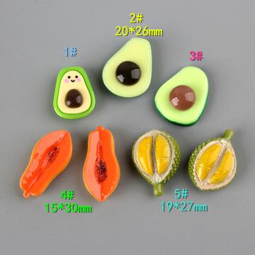 10Pcs Resin Cute Avocado Papaya Durian Flat back Cabochons Simulation Fruits DIY Scrapbooking For Phone Hair Clip Accessories