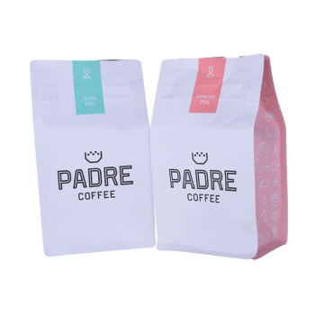 Box bottom coffee bag resealable pouch plastic packaging bag