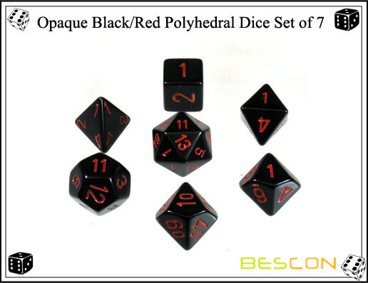 Opaque Black and Red Polyhedral Dice Set of 7