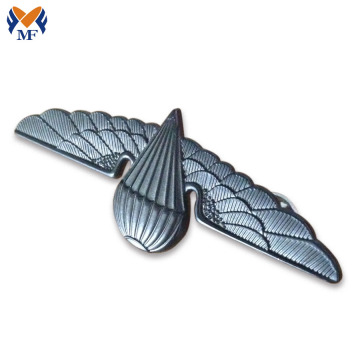 Custom metal silver wing shape badge pin