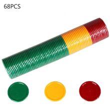 OOTDTY 68pcs Plastic Poker Chips Casino Bingo Markers for Fun Family Club Carnival Bingo Game Tokens 31mm