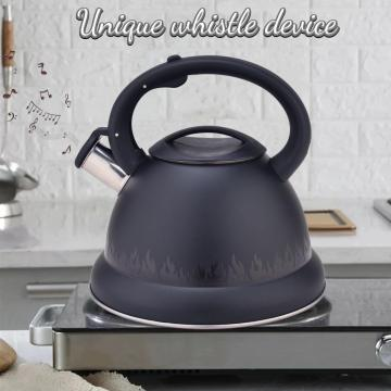 Black Flame Pattern Stainless Steel Stovetop Tea Kettle