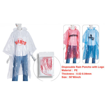 emergency disposable rain poncho with logo