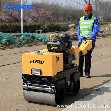 Fast Moving 800kg Manual Hydraulic Double Drum Vibratory Soil Compactor