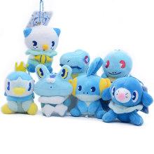 11cm 7pcs/lot Totodile Mudkip Piplup Oshawott Froakie Popplio Squirtle Plush Toys Key Chains Pendants Soft Animals Dolls Gifts