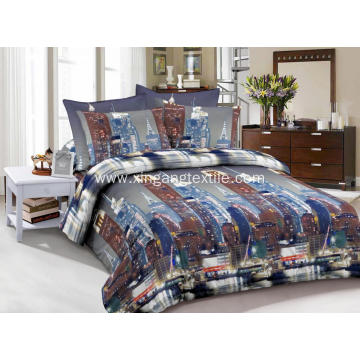 Microfiber 3D Print City Duvet Cover Set