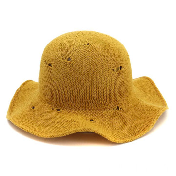 Broken hole summer hat yellow bucket straw hat