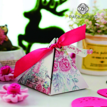 Handmade Flower Printed Pyramidal Candy Box