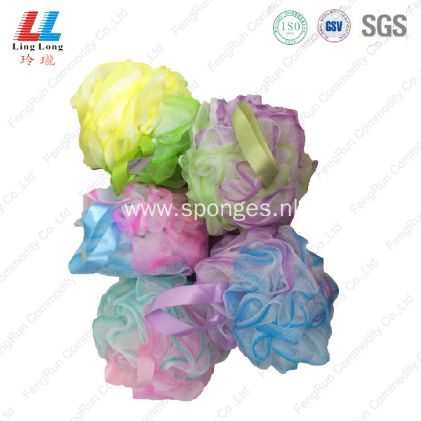three color bath sponge mesh body exfoliator
