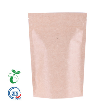 PLA Plastic Kraft Bags with Window Biodegradable Pla Food Tea Plastic Bag Coffee Beans/Beef Jerky/Snack