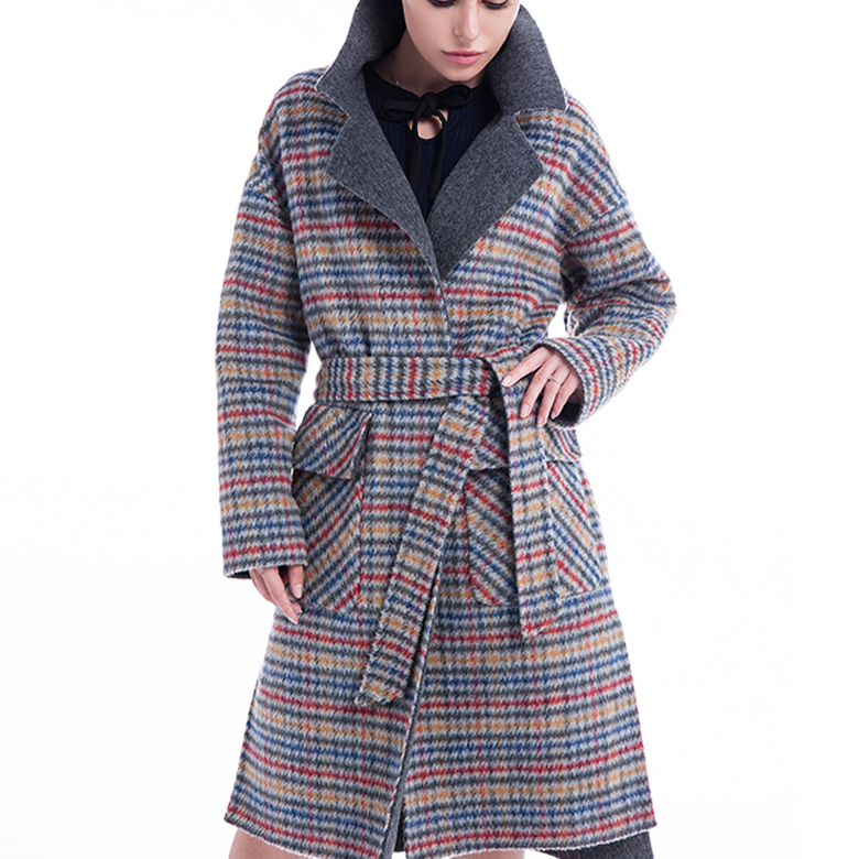 Fashion Coloured Checked Cashmere Winter Coat