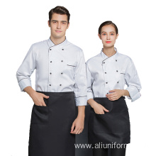 chef Uniform with embroidery logo double breasted Restaurant kitchen coat workwear