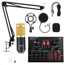 BM800 Microphone Condenser PRO Audio Mixer Live Sound Card Bluetooth USB 15 Sound Mode DSP Multiple Sound Effects 5.1Channel