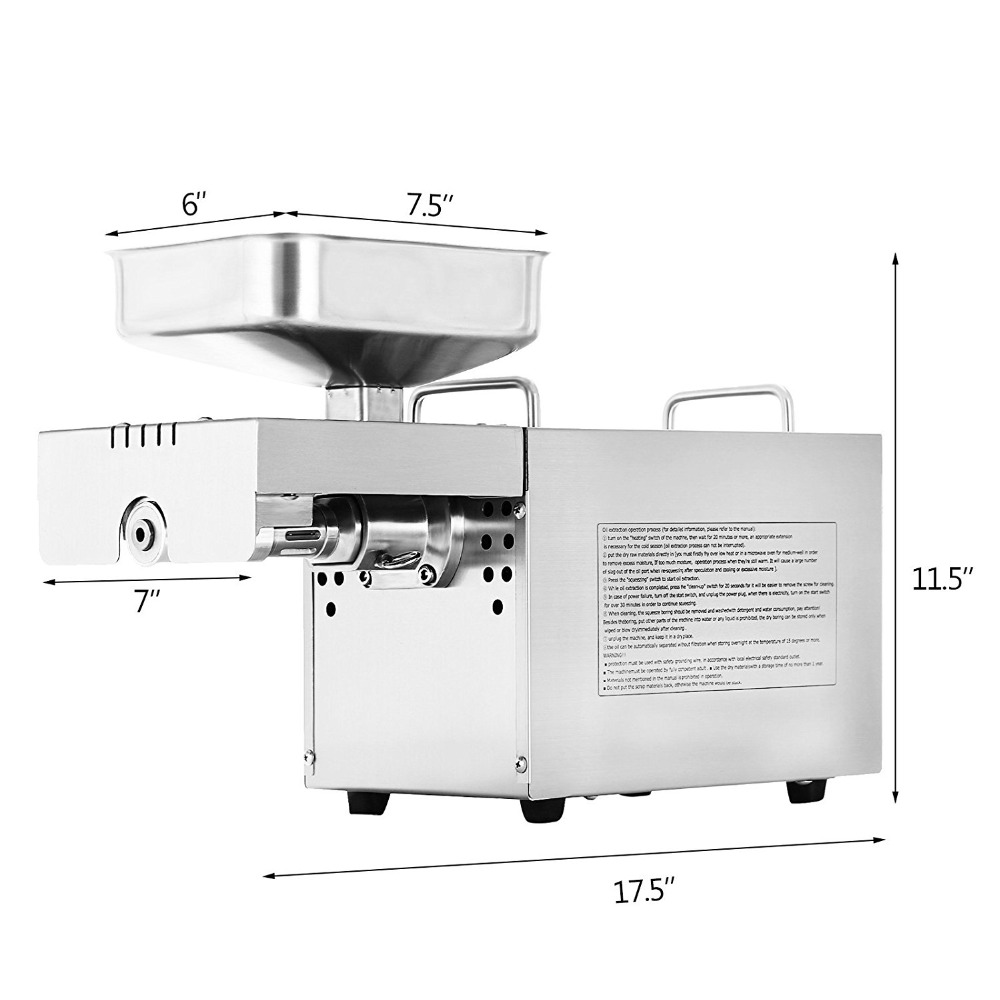 Hot Sale Seed Oil Extraction Machine 110V/220V Small Electric Heat Cold Peanut Sesame Soybean Almond Oil Press Machine