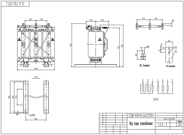 400kva dry type transformer drawing