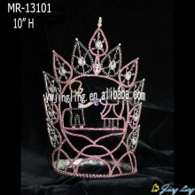 Pink Rhinestone Tall Full Round Pageant Crown
