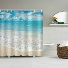 Sea Wave Beach Waterproof Shower Curtain Blue Ocean Bathroom Decor Shower Curtain with Hooks