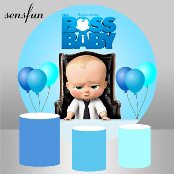 Round Scene Little Men Boss Baby Birthday Party Backdrops Blue Theme Balloons Photography Backgrounds Circle Decor Banner Custom