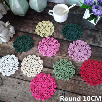 10CM Round Beautiful Vintage Crochet Tea Cup Coasters Cotton Lace Dining Table Mat Kitchen Cloth Insulated Pad Mat Wedding Doily