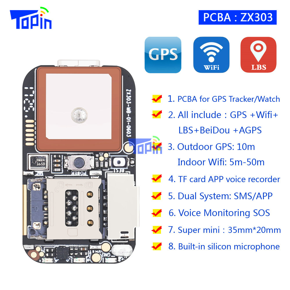 New ZX303 PCBA GPS Tracker GSM GPS Wifi LBS Locator SOS Alarm Web APP Tracking TF Card Voice Recorder SMS Coordinate Dual System