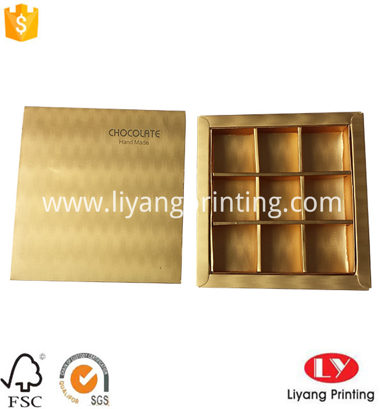 chocolate paper box in metallic gold paper
