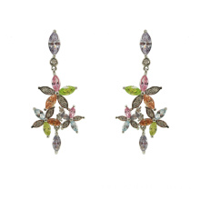 OEM 925 Sterling Silver Multicolor CZ Drop Earrings