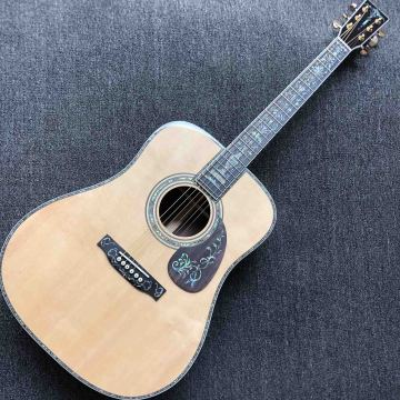 Custom Solid Spruce Top Deluxe Rosewood Back Side Full Abalone Binding Bone Nut Saddle Acoustic Guitar with Electronic EQ Pickup
