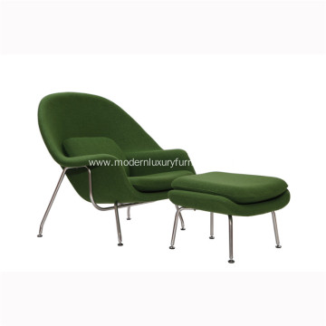 Green Cashmere Wool Saarinen Womb Chair & Ottoman